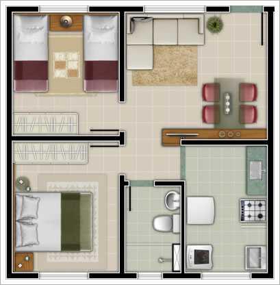 Plantas de casas pequenas modernas com 2 1 ou 3 quartos for Casas modernas pequenas de dos plantas