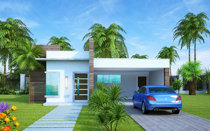 Fachadas de casas com garagem modernas pequenas fotos for Planos casas pequenas modernas