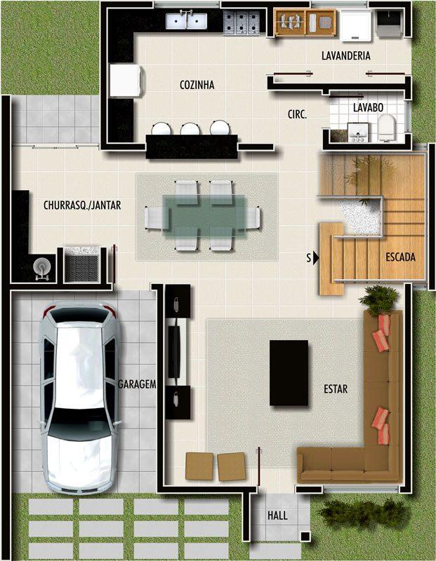 Plantas de casas pequenas modernas com 2 1 ou 3 quartos for Planos de casas pequenas de una planta