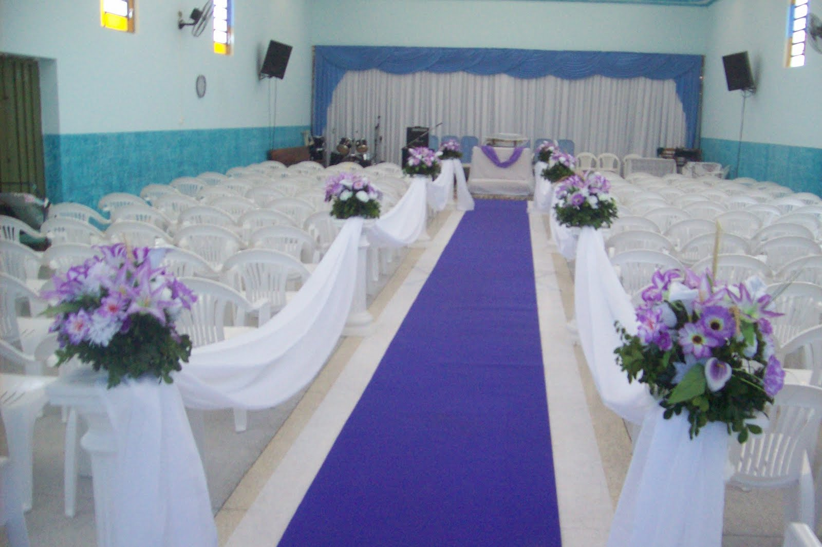 decoracao de casamento na igreja azul e amarelo:Decoração de Igreja para Casamento Evangélico