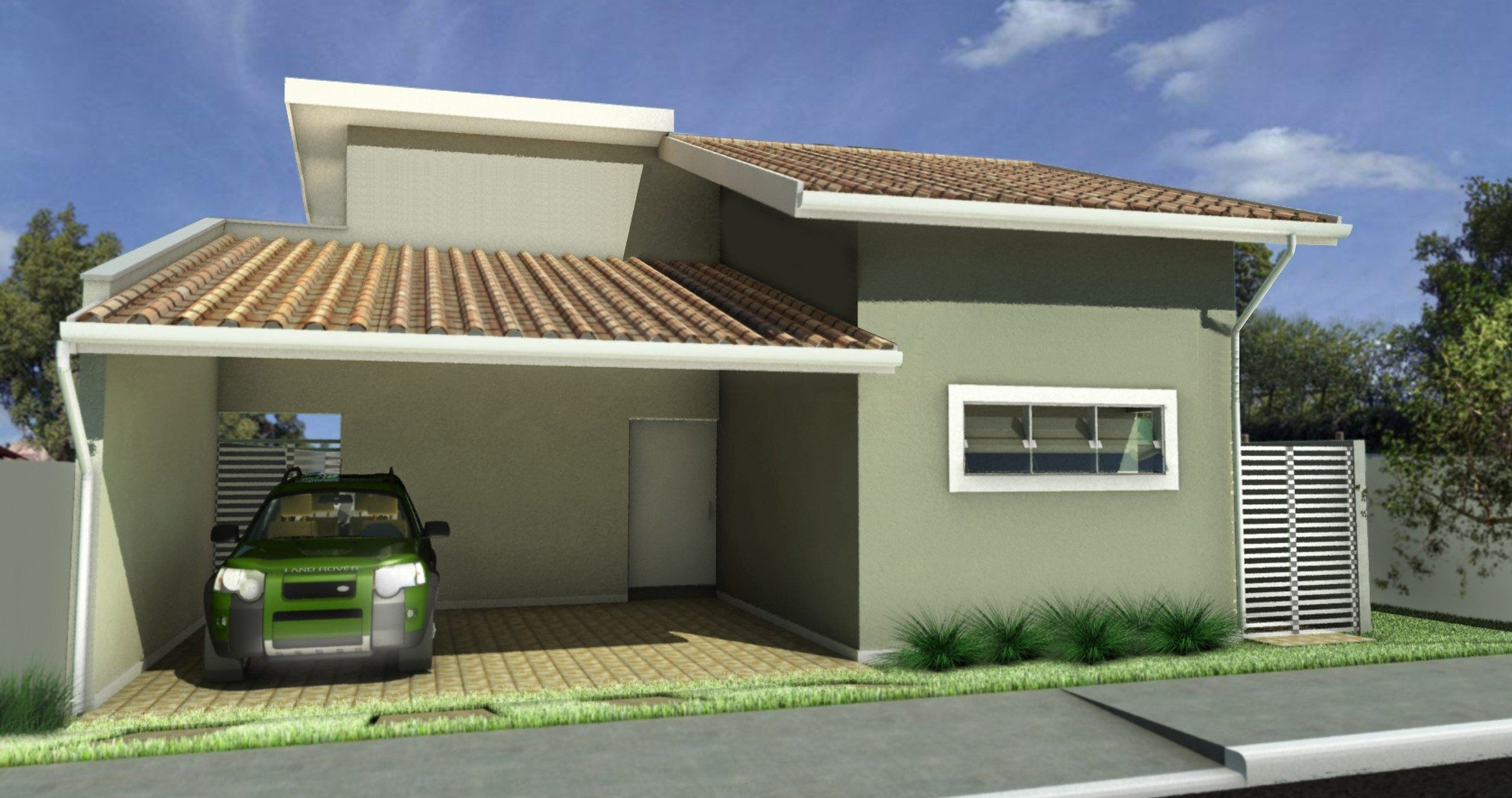 Fachadas de casas com garagem modernas pequenas fotos for Modelos jardines para casas pequenas