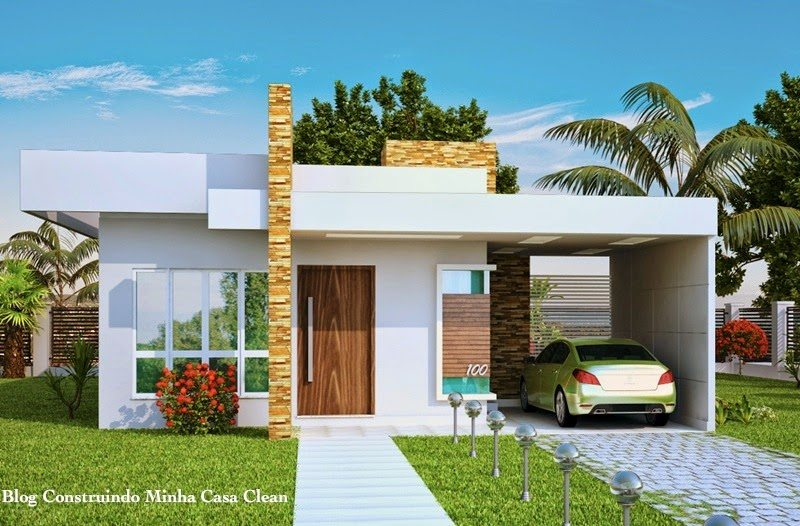 Fachadas de casas com garagem modernas pequenas fotos for Modelos de casas de una planta modernas
