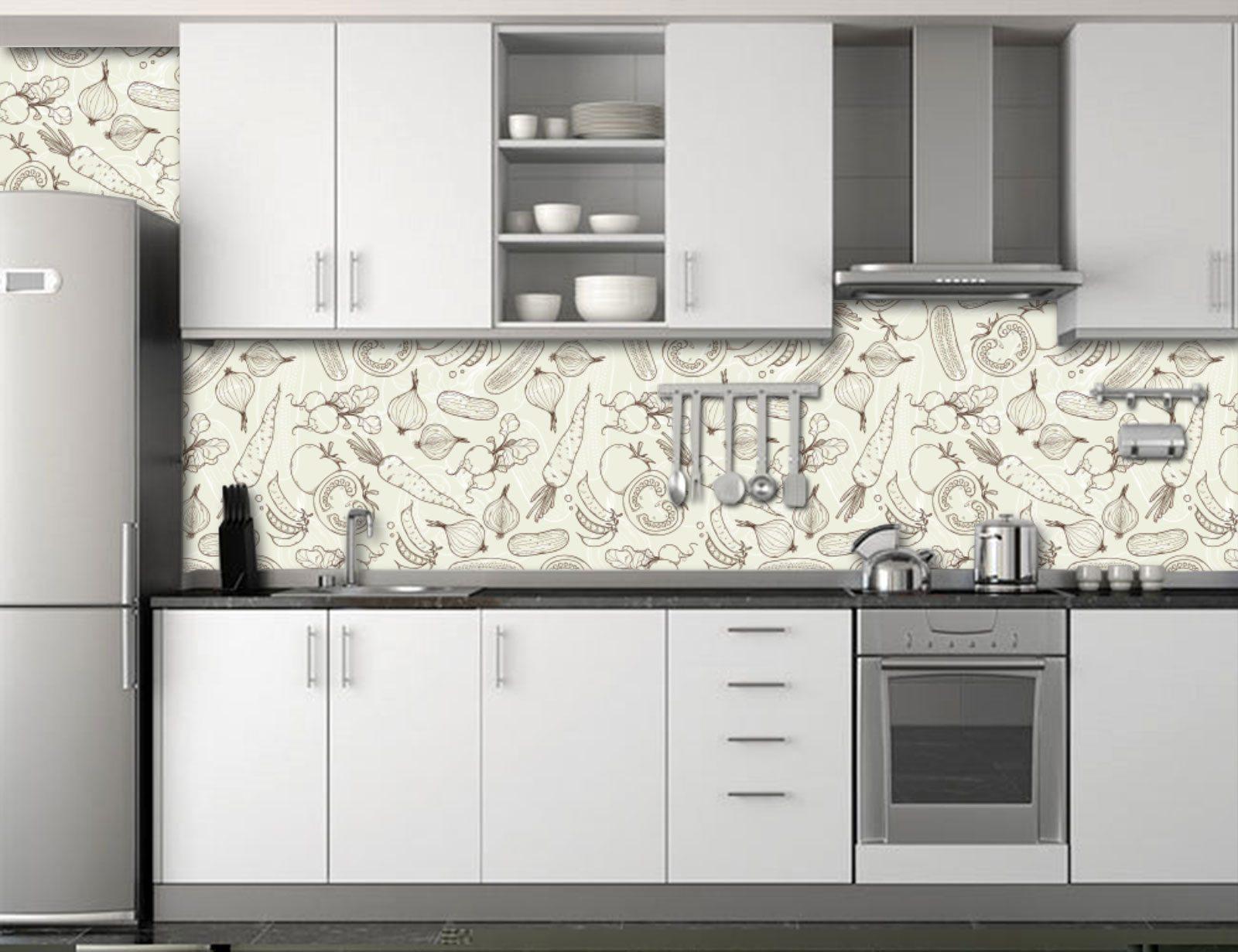 Cozinha decorada papel de parede v rios - Papel para revestir paredes ...